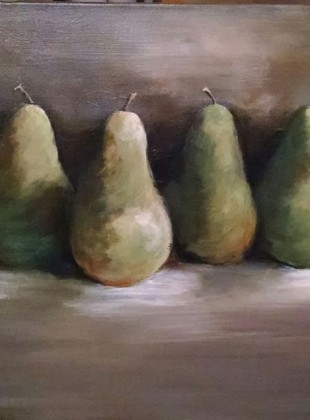 Pears in a row $280 size 90cm x 45cm