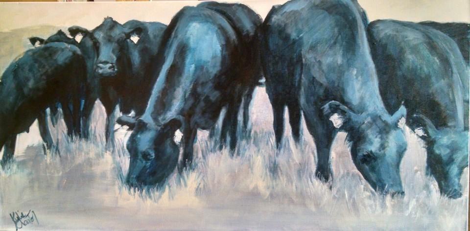 Angus Cattle 90cm x 45cm $350