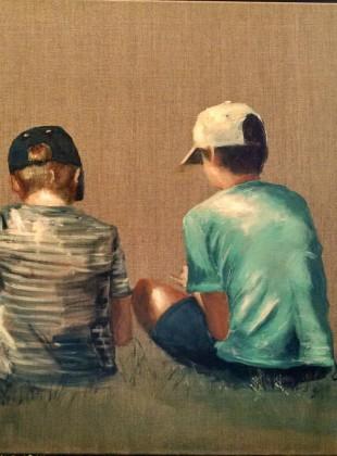 """Boys chilling"" size 60cm x 76cm acrylic on linen canvas $490"