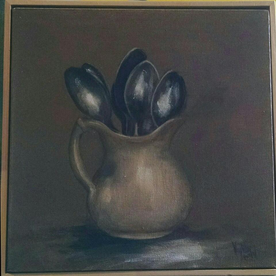 Jug of spoons paintings by Kylie van Tol