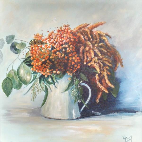 Pittosporum berries in a jug painting by Kylie van Tol