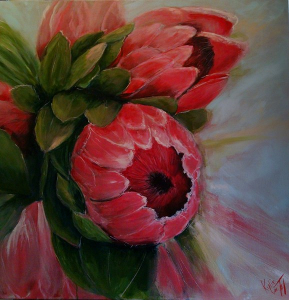 """Proteas"" size 90cm x 90cm acrylic on canvas painting $650"