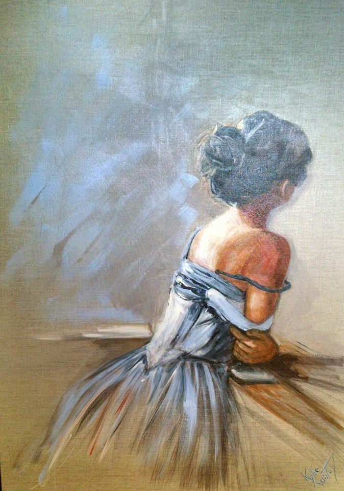 """""""Sitting pretty"""" (lady) size 100cm x 76cm acrylic on linen canvas available for sale at the Aarwun gallery Canberra"""