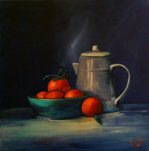"""""""Oranges and blue delights"""" size 76cm x 76cm acrylic on canvas painting. For sale"""