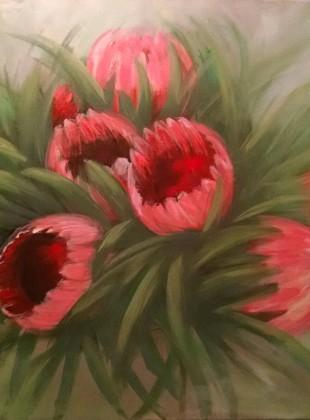 Proteas on linen