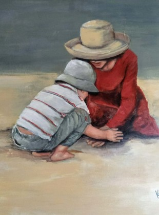 """""""Playing at beach"""" size 76cm x 76cm"""