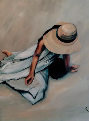 """""""Sitting in the sun"""" size 76cm x 76cm"""