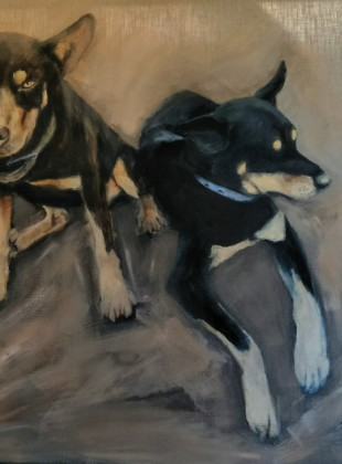 Kelpies painting for sale